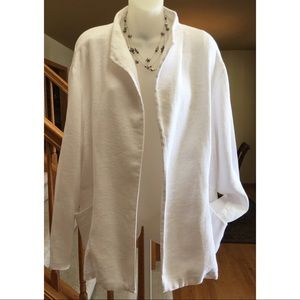 Eileen Fisher Woman Linen Blazer Jacket White 2X